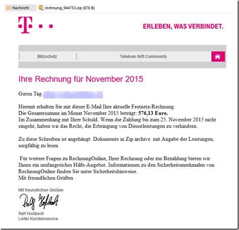 Freiberufler Rechnung Per Email Trojaner Warnung E Mail Mit Ihre Telekom Festnetz Rechnung November 2015 Quot Mimikama