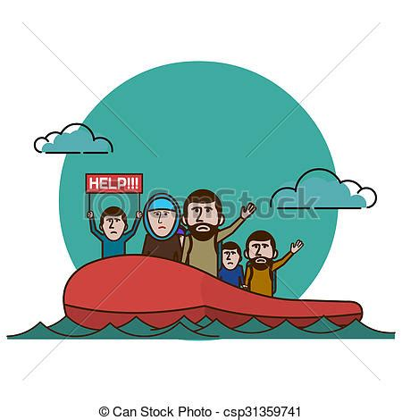 refugee boat clipart syrian refugees on boat civil war in syria drawing