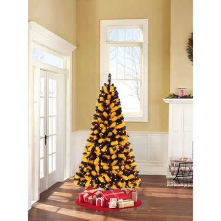 black and yellow christmas tree time 6ft pre lit team colored tree clr walmart