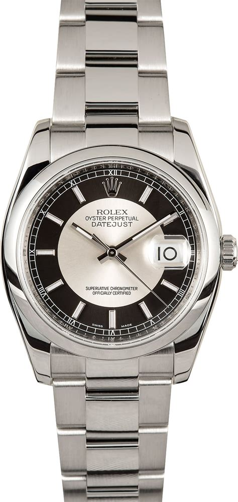 rolex datejust 116200 silver and black