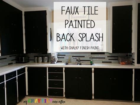 faux tile painted backsplash using chalky finish paint