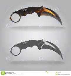illustration of karambit sharp knife claw shape stock