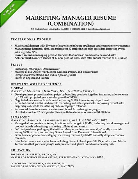Exle Of A Marketing Resume marketing resume sle resume genius