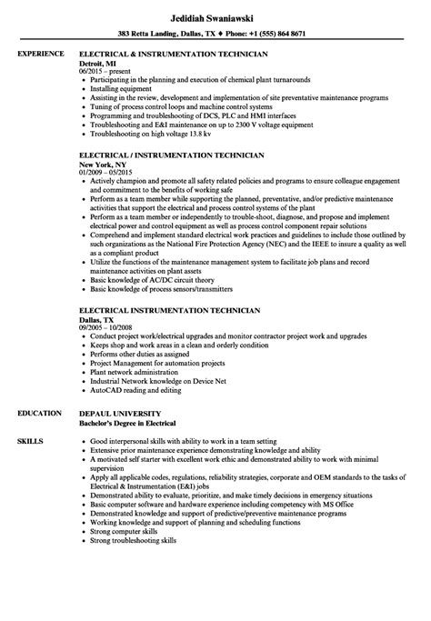 resume format for instrument technician electrical instrumentation technician resume sles