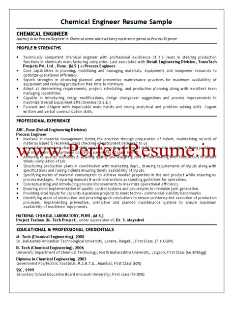 Resume Format For Chemical Engineer by Chemical Engineer Resume Sle Chemical Reactions Chemical Engineering