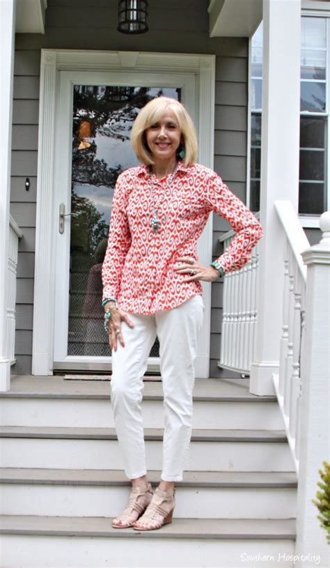 2015 spring style women over 50 fashion over 50 white pants spring colors southern