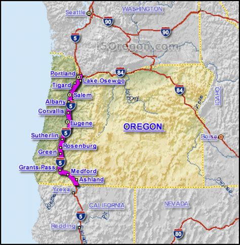 map of interstate 5 through oregon interstate 5 oregon map