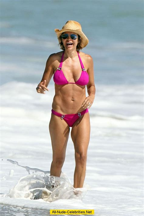 lisa rinna hard under pink on the beach in