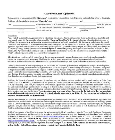 50 Lease Agreements In Pdf Sle Templates Simple Apartment Lease Agreement Template