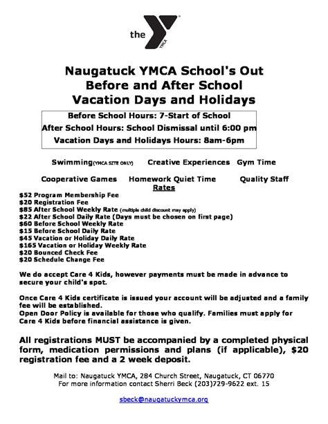 Ymca Application Form 2017 For Mba by As Registration Forms2017 18 Naugatuck Ymca