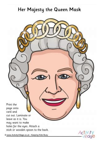 printable masks queen royal family masks