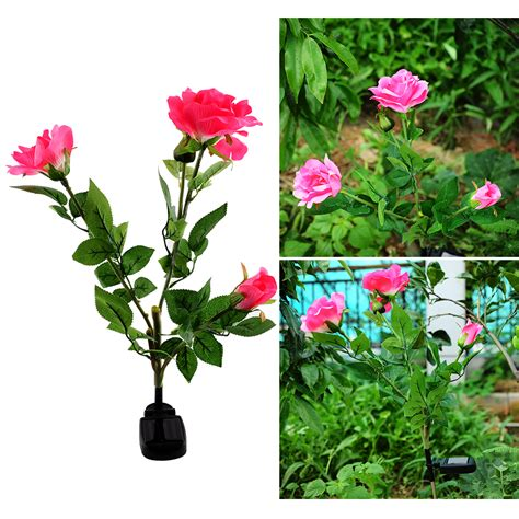 Solar Powered Garden Decor Solar Powered 3 Led Flower Stake Garden Decor Light Landscape Decoration Ebay