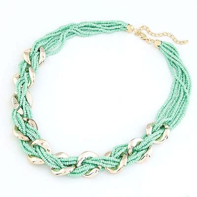 Kalung Korea Choker Pendant Decorated Hollw Out Weaving famale light gren metal woven alloy bib necklaces asujewelry