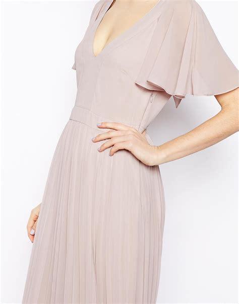 Sleeve Pleated Dress lyst asos ruffle sleeve pleated maxi dress in green