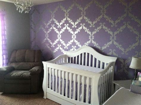 Nursery Decor Wallpaper Purple Metallic Silver And White Baby S Nursery Baby Nursery Baby
