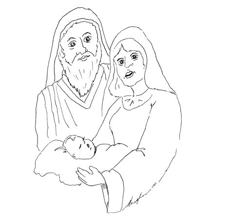 coloring page of baby jesus mary and joseph baby jesus