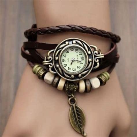 Jam Tangan Bracelet Vintage Korea Kulit New Terbaru Sale Promo 1 leather wrap with bronze leaf brown