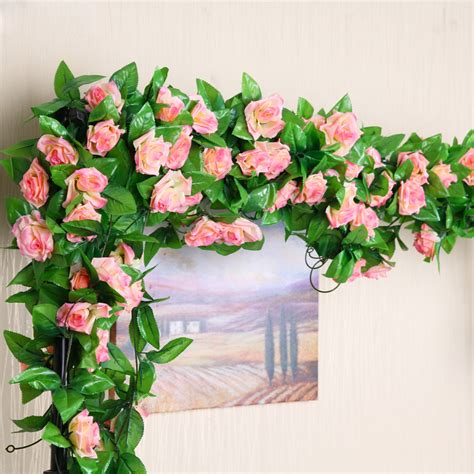 artificial flower decoration for home 2meter 7color rose artificial flower fake silk ivy vine
