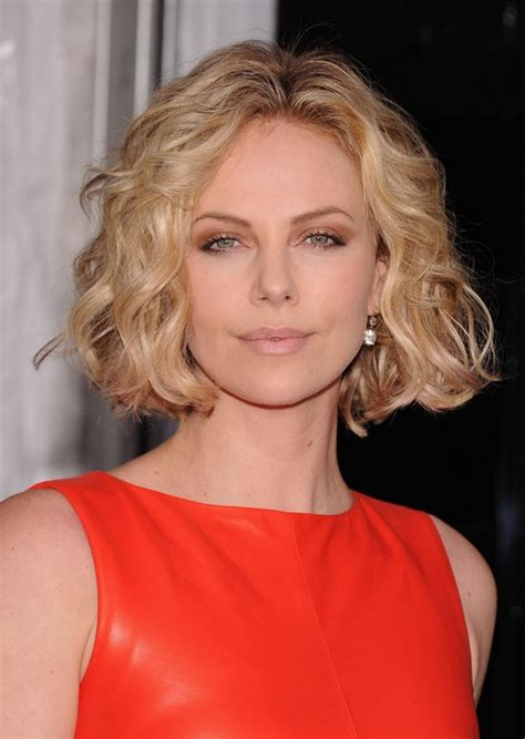 round face curly bob celebrity short hairstyle for round faces charlize