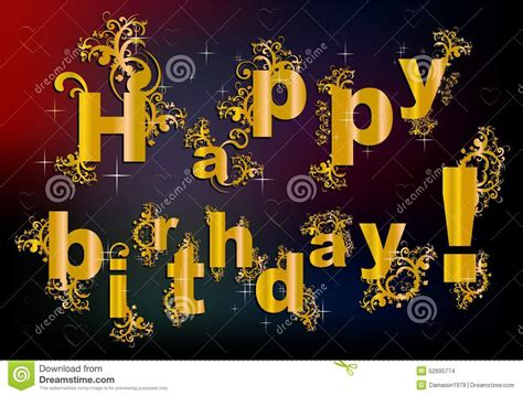 happy birthday in baroque style stock illustration image