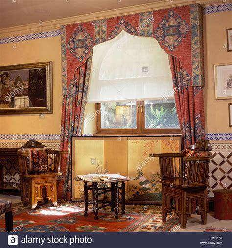 Living Room Window Pelmets Lambrequin Pelmet And White Blind On Window In Living Room