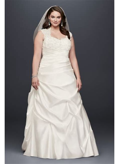 cap sleeve satin    size wedding dress davids