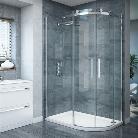 Curved Shower Screen For Corner Bath nova frameless 800 x 1200mm offset quadrant enclosure