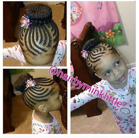 Little Kids Hair Braided Into A Bun | neat design cornrows hairstyle for black women