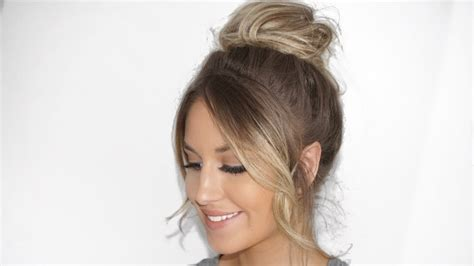 images of a messy bun with bang no hair out messy bun tutorial with fringe bangs styling hair