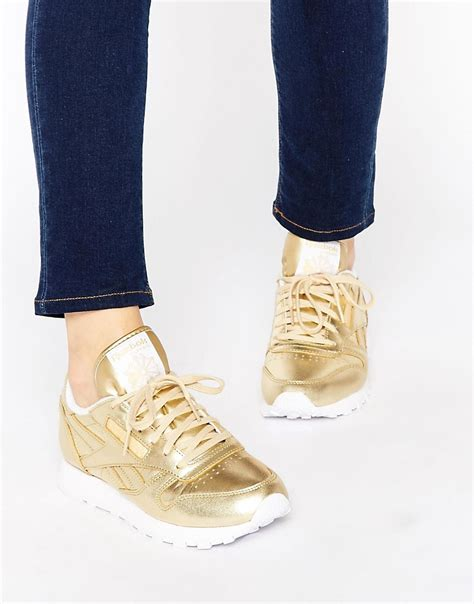 Reebok Classic Gold by Shoptagr Reebok Classic Gold Leather Spirit Trainers By