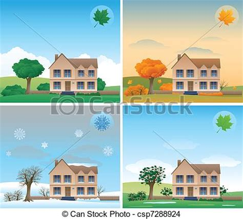 A House For The Season Eps Vector Of Four Season Background House Design