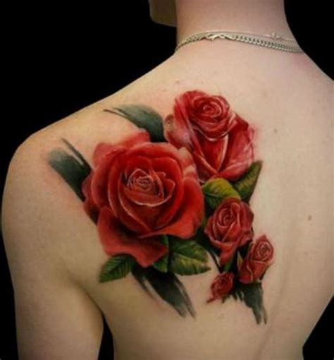 real looking rose tattoo realistic looking colored flowers on
