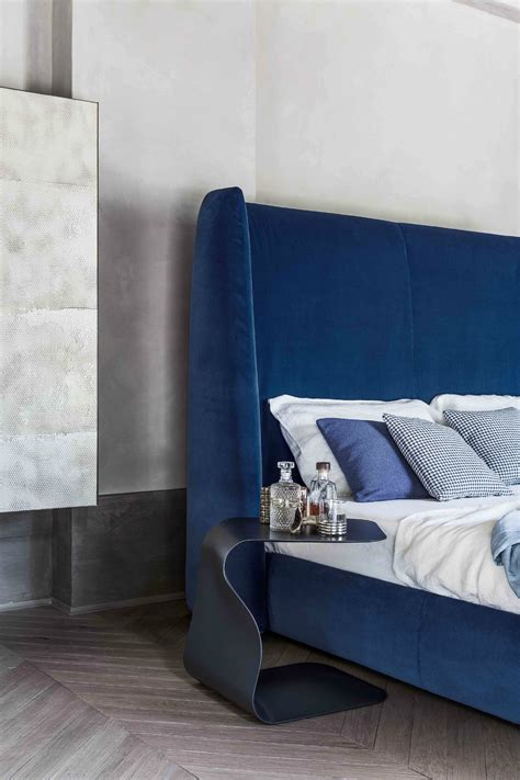 Blue Upholstered Headboard Bed With Upholstered Headboard Basket Plus Bonaldo Blue Rest