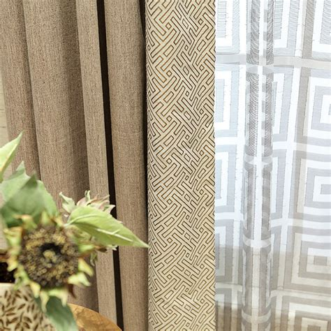 Modern Print Curtains Coffee Geometric Print Cotton Custom Modern Curtains
