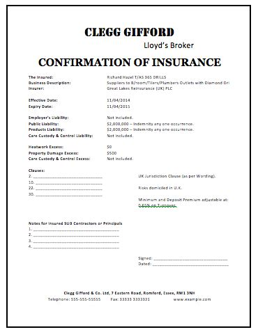 Insurance Business Letter Templates Sle Insurance Certificate Microsoft Word Templates