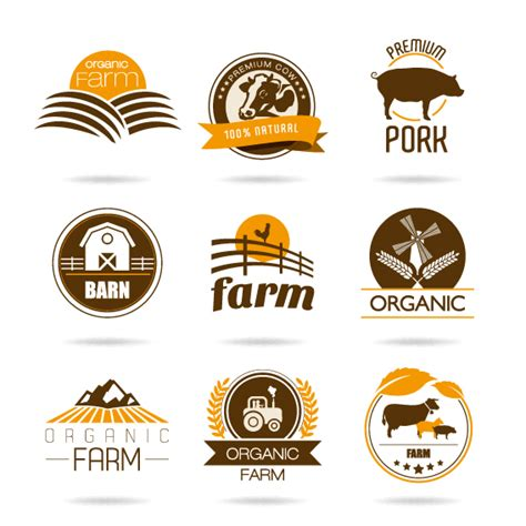 design logo label clipart retro farm labels brown style farm labels and