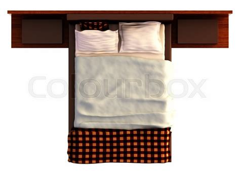 how to be on top in bed top view of a bed with a blanket and a pillow isolated on white stock photo colourbox