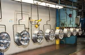 Hooked Truck Wheels Rolling Along Powder Coating Car And Truck Wheels