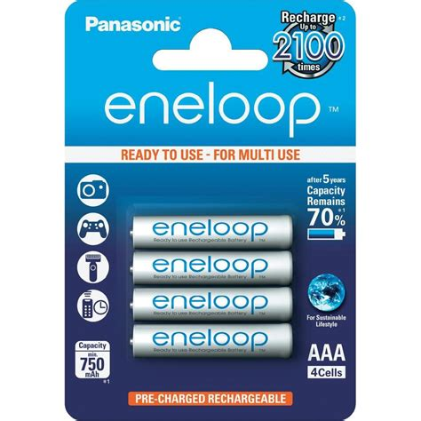 aaa battery rechargeable nimh panasonic eneloop aaa 750