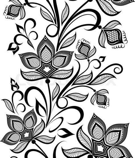 vintage pattern black and white vector seamless black and white floral vintage vertical vector