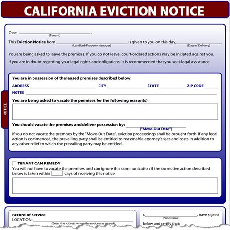 sle eviction notice for nonpayment of rent nj california eviction notice