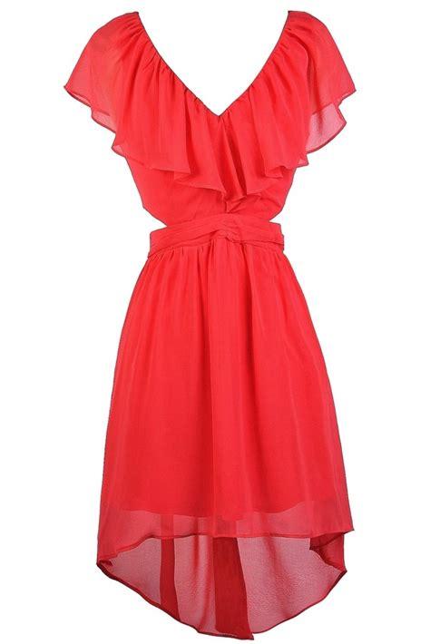 Coral Ruffle Dress 1 coral ruffle dress coral high low dress coral dress
