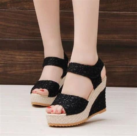 High Heels Bahan Brukat sepatu sandal wanita murah dan cantik bahan brukat modern