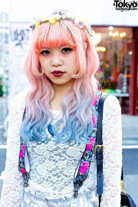 hair by tokyo pink blue dip dye hair silver shorts jeffrey cbell