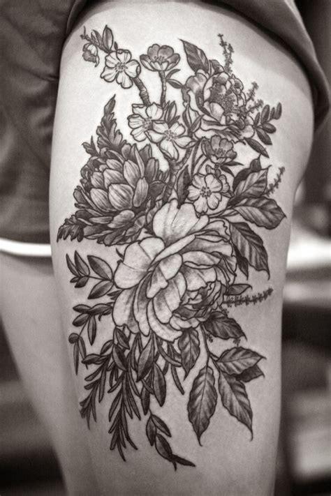 flower tattoos black and white wonderful black ink flowers on thigh tattooimages biz
