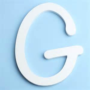white brush font wood letter g word and letter cutouts