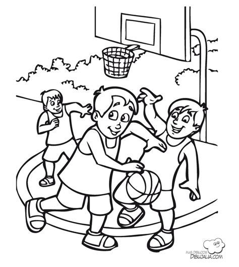dibujos niños jugando baloncesto partido baloncesto dibujalia dibujos para colorear