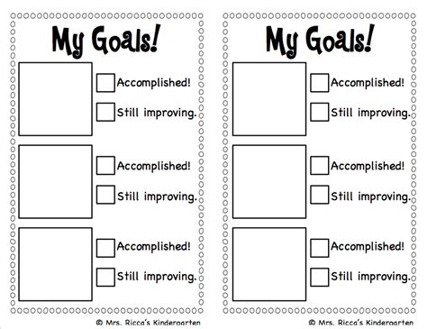 goal sheet template for students goal setting checklist freebie mrs ricca s kindergarten