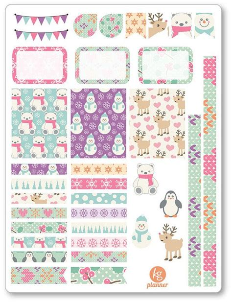 printable planner decorations cute winter decorating kit weekly spread planner