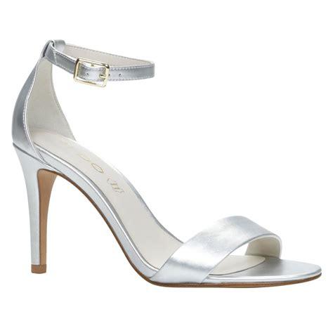 aldo high heel sandals aldo ibenama ankle high heel sandals in metallic lyst